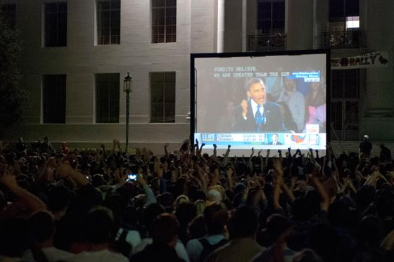 Election night on Sproul Plaza