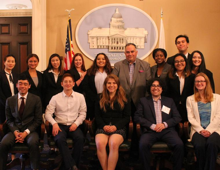 group of Cal students in state capitol chamber