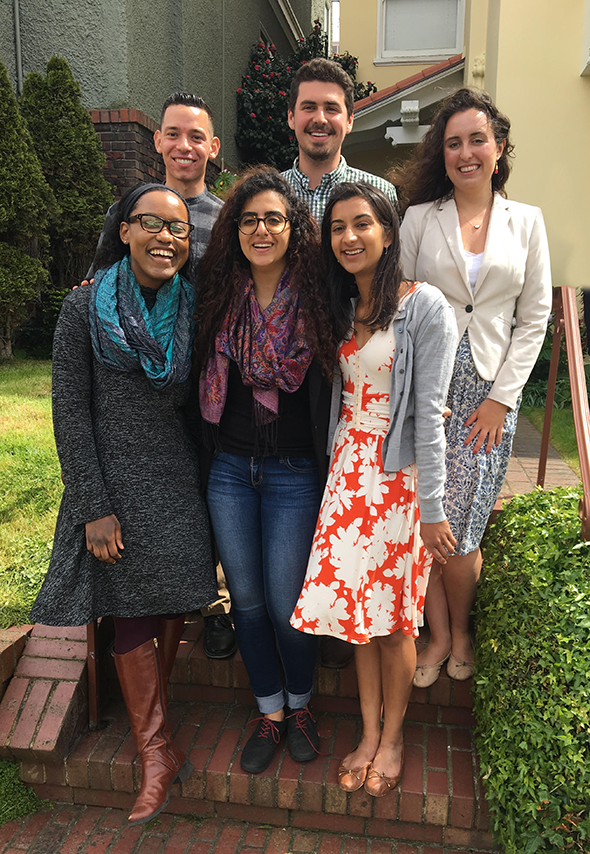 six Gardner Fellows for 2018 standing together outside