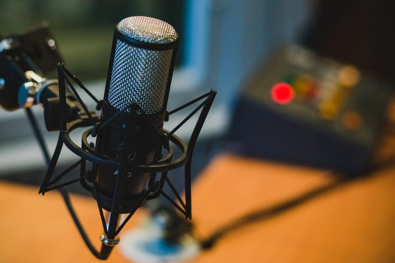 Photo of professional microphone in a recording studio