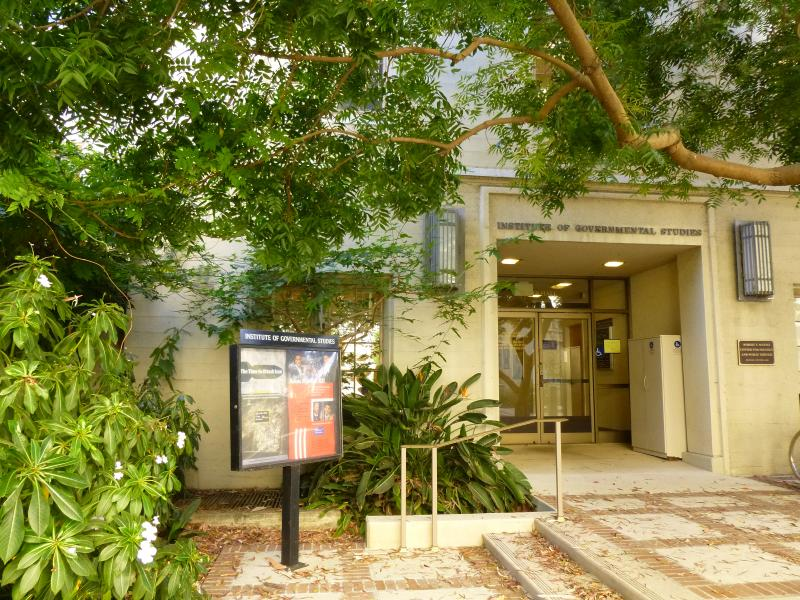 view of entrance to Moses Hall from lower courtyard