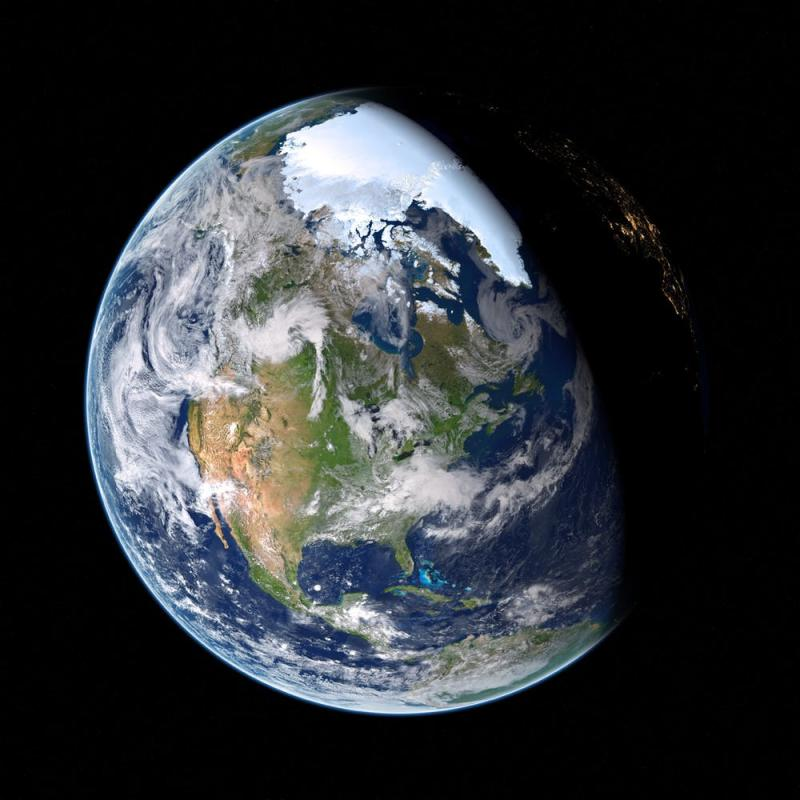 Planet Earth from space in half darkness and half light