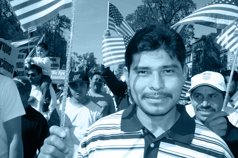 faces of people at immigration march