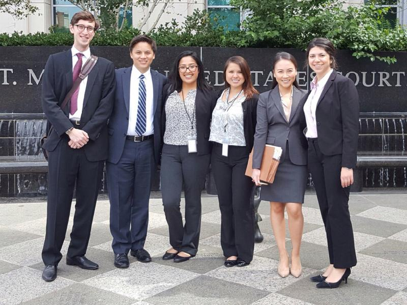 At the Federal Courthouse with the law clerks after their first appearance in court!