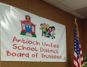 Antioch Unified School Board of Trustees board room Banner