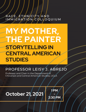 Event flyer with title, date, and speaker, in color scheme of black, yellow, and white