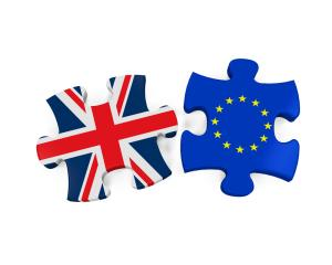UK and EU maps as jigsaw pieces