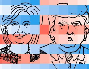 Clinton Trump illustration montage