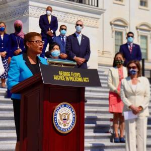 Rep. Karen Bass on steps of the Capitol