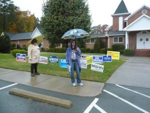 rainy polling place