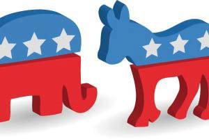 Animation of Republican and Democratic party symbols