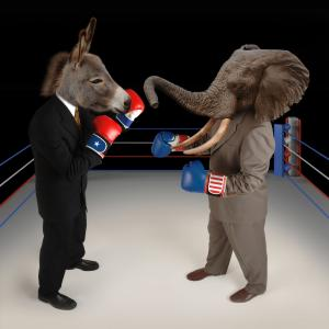 donkey vs elephant in boxing ring