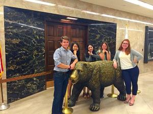 Chris, Jenn, Krista, Siena, and I outside the Governor's office.