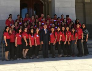 Young Senators at west steps with Senator Mendoza