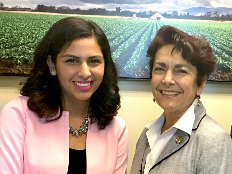 Local Gov Fellow 2017, Yvonne Dorantes, with Assemblymember Anna Caballero