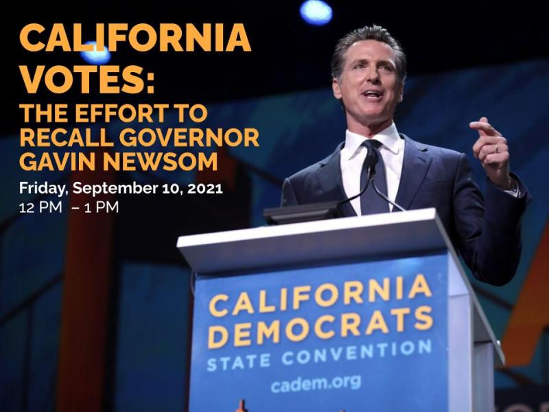 A a picture of Governor Gavin Newsom at a podium with the title, time, and date of the event
