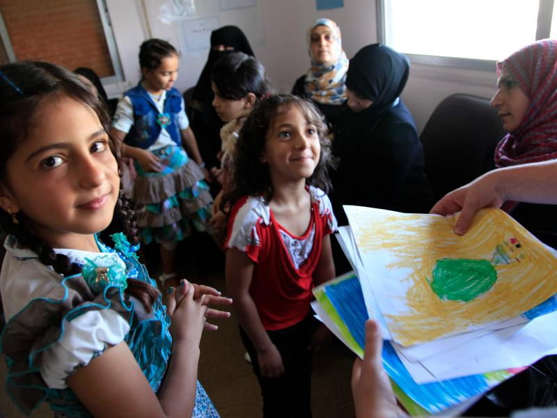 Refugee children from Syria at a clinic in Ramtha, northern Jordan (9613477263)