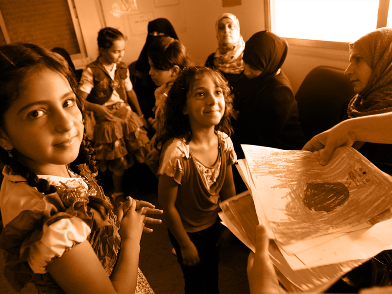 Syrian refugee girls in a classroom
