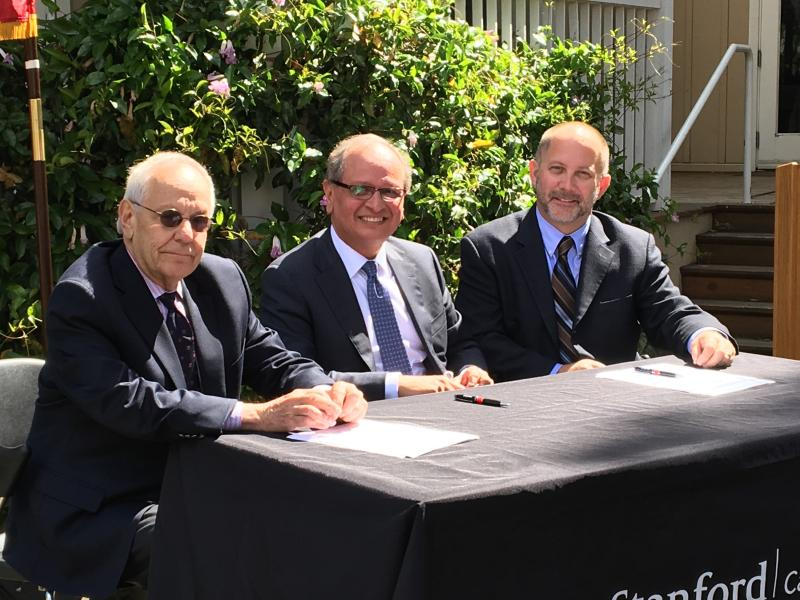 Jack Citrin, Ambassador Arnold Chacon, and Thomas Schnaubelt (the Executive Director of the Haas Center for Public Service).