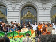 Rally to expand the Children's Fund on the steps of City Hall