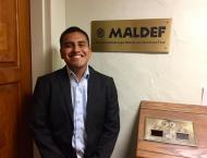 Boomer Vicente at the MALDEF offices