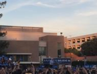 Bernie getting the crowd excited at UC Davis