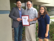 I helped present a Certification of Recognition to Jim Sullins, Tulare and Kings County Cooperative Extension Director, for his service to the community and to wish him luck in retirement.