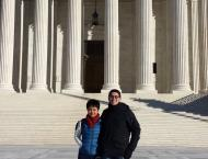 Matsui Washington Fellows Summer Dong and Brandon Wong in front of the Supreme Court.