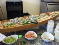 Sushi boats and similar presentations are not uncommon.