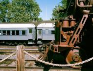 Restored trains at the docks of Old Sacramento