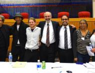Left to Right: Albert Woodfox, Robert King, Bret Grote, Jules Lobel, Danny Murillo, Shandre Delaney and Dolores Canales
