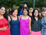 Berkeley students and grads at Jazz in the Garden at the National Gallery of Art. Matsui Fellow Trinh Nguyen second from right.