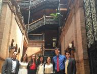 Me along with my fellow interns and supervisors visiting the historic Bradbury Building after having lunch at Grand Central