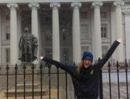 First day of snow in front of the Department of the Treasury (shout out to Robert Reich!)