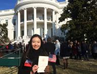 Washington Matsui Fellow Yixi Zhao present at the South Lawn of the White House, witnessing the State welcome President Hollande of France.