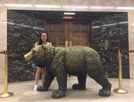 With the bear statue in front of the Governor's office in the capitol