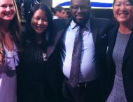 At the Cal-in-Sac reception with two other cohort members and Assemblymember Ridley-Thomas, the legislator I have the privilege of interning for this summer.