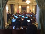 Witnessing the hustle and bustle on the Assembly floor.