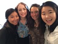 My roommates and me on our first day of work! (Left to right: Me, Keely O'Brian, Stephanie Kinser, and Judy Kim)