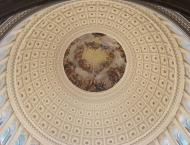 Beautiful painting on the dome of the Capitol building.