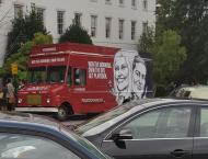 Spotted the Politico Playbook Truck giving out free breakfast and coffee at Capitol South.