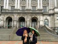 Matsui Fellow Dasha Burns (left) successfully attaining her library card...for the Library of Congress!