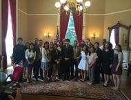 Me and fellow Cal-in-Sac Fellow Judy with Senate President pro Tempore Kevin de León and members of the Capitol Fellows Program.