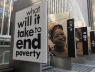 A display in front of the World Bank in Washington, DC.